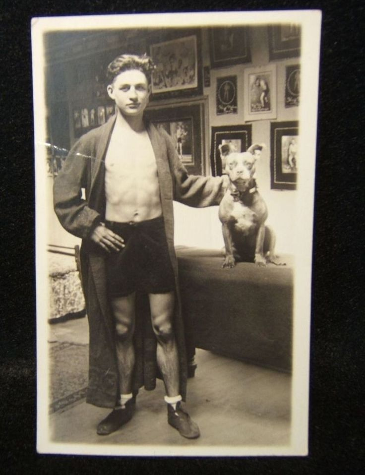 UNKNOWN BOXER POSING WITH PIT~BULL, 1920 ERA, POSTCARD