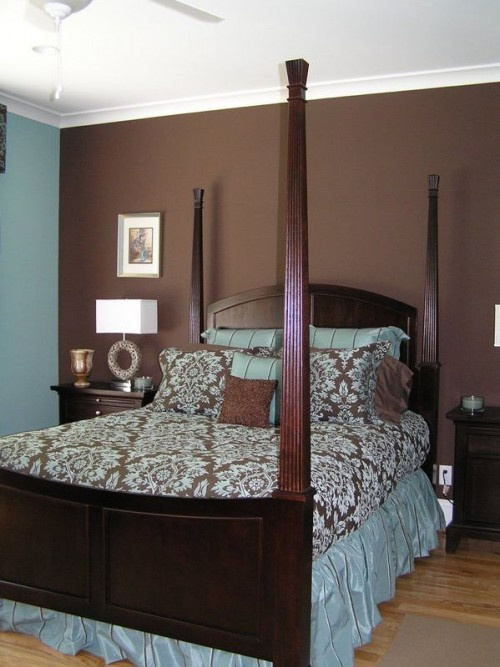 brown bedroom wall with white ceiling design leans too much on the colors matching but - Brown Bedroom Design