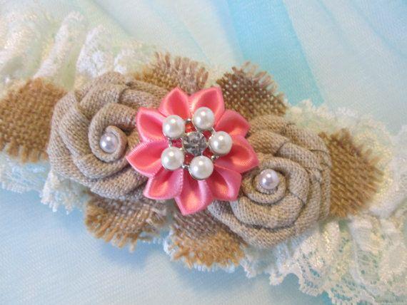 BURLAP & Coral Pink Wedding Garter Set Rustic by GibsonGirlGarters