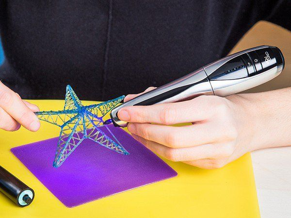 CreoPop~This is the coolest (literally and figuratively) 3-D pen I've seen on the market. While most 3D pens works by melting plastic, CredoPop uses cool ink (photopolymer) instead, making this pen both safer to use as well as eliminating the offensive melted plastic odor. Also is charged via USB so there's no cord to get in the way of your creation. Affordability is also a huge plus.