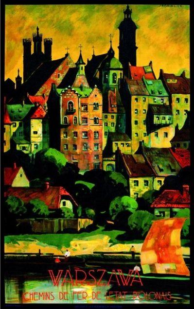 """przedwojennego plakatu reklamowego z ok. 1928 roku - """"Warszawa"""" - autorstwa Stefana Norblina."""