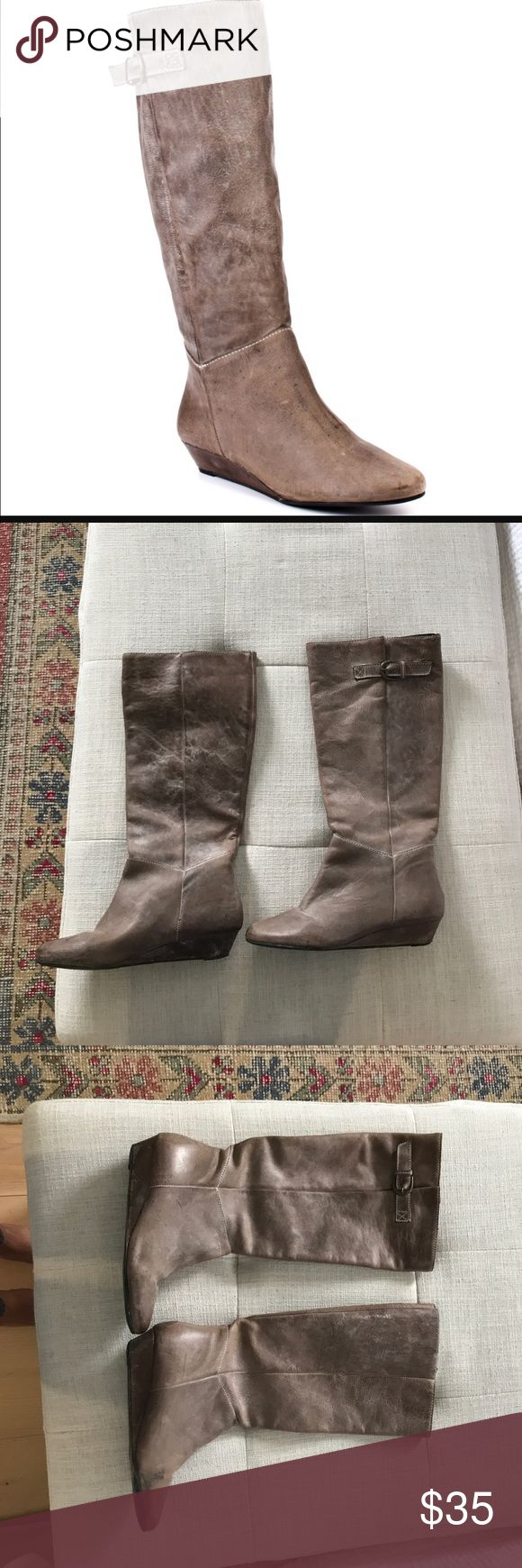 Steve Madden Intyce boot in Stone See photos, a few scuffs on the heels otherwise in good shape! Steve Madden Shoes Winter & Rain Boots