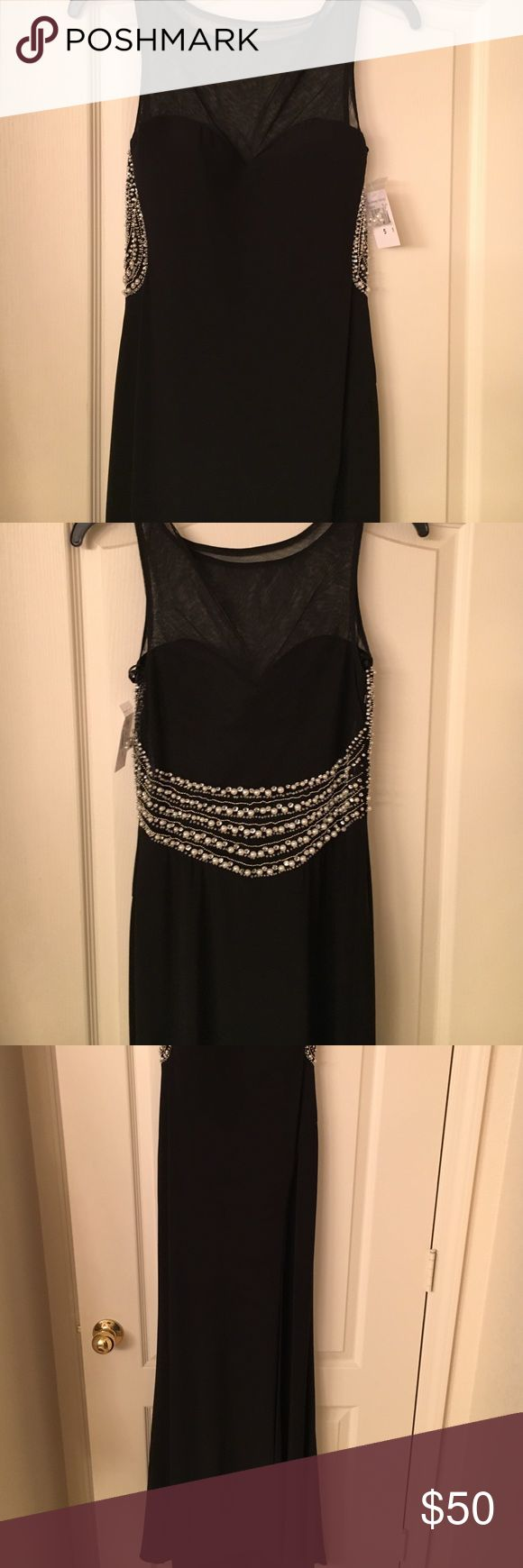 Long black formal dress Blonde nites formal black dress with pearl and sequin on back.  Size 5 junior.  Floor length. New with tags.  Great for homecoming or prom or formal affair. Blondie Nites Dresses Prom