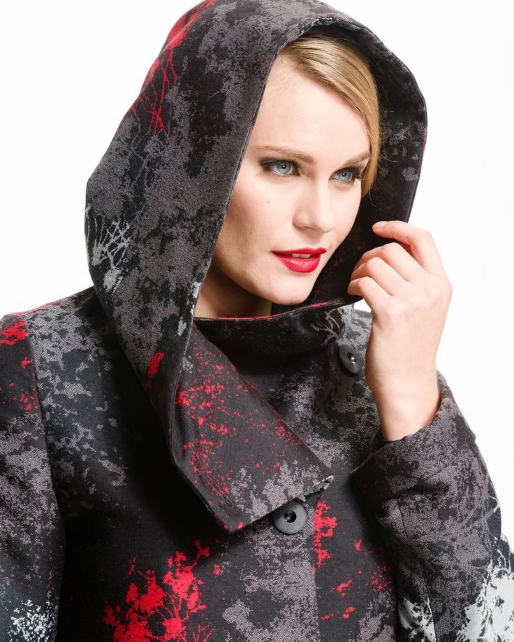 Black, grey and red hooded jacket, ready to make a statement by Karmiini Oy Aino.