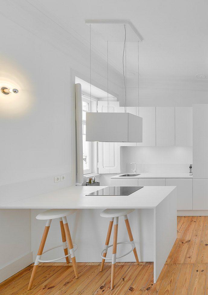White Minimalist Open Kitchen with Wood Floor