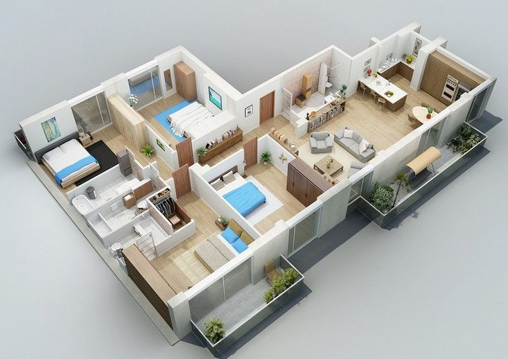 Denah Desain Rumah Minimalis Modern 4 Kamar Tidur 3d 5