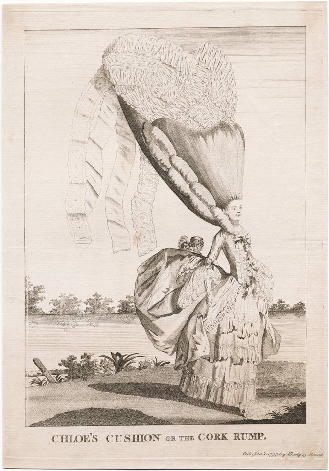 """It's #ColorOurCollections week! Create your own masterpiece using images from the Yale University Library collections. Show us your creations by tagging them on Facebook, Instagram or Twitter @Bass Library. Here's """"Chloe's cushion, or The cork rump,"""" a 1777 engraving from the Lewis Walpole Library. #fashion #hairstyles #coloring. Via Bass Library."""
