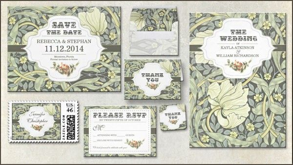 Very elegant classic Art Deco vintage design wedding invitation and wedding stationery suite with floral pattern and beautiful typography. Choose from set of matching items: RSVP, save the date post card, floral wedding envelopes, thank you folded cards, romantic postage stamps, thank you seals and stickers can be in a different shape too.