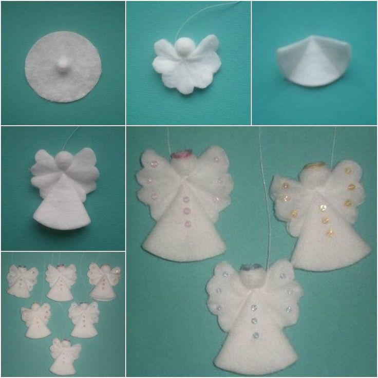 Creative Ideas – DIY Cotton Pad Angel Christmas Ornaments #DIY #craft #decorating