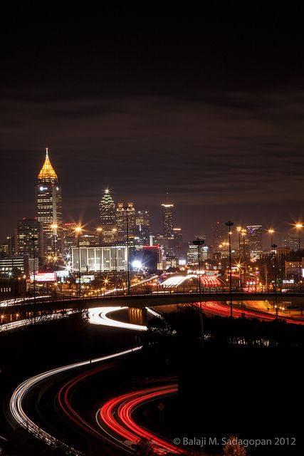 The beautiful Atlanta skyline at night.