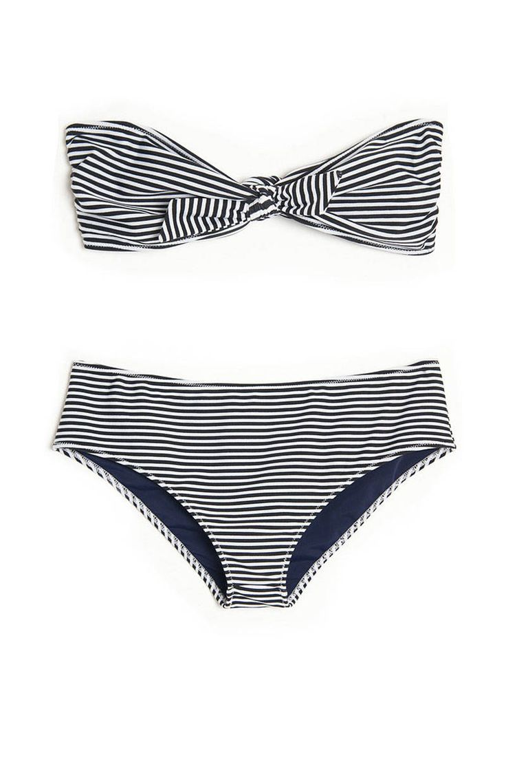 "3.1 Phillip Lim Stripe Print Bandeau Bikini Top, $75, Bottom, $75 (on sale);  target=""sale"">kirnazabete.com Courtesy of Kirna Zabete  - ELLE.com"