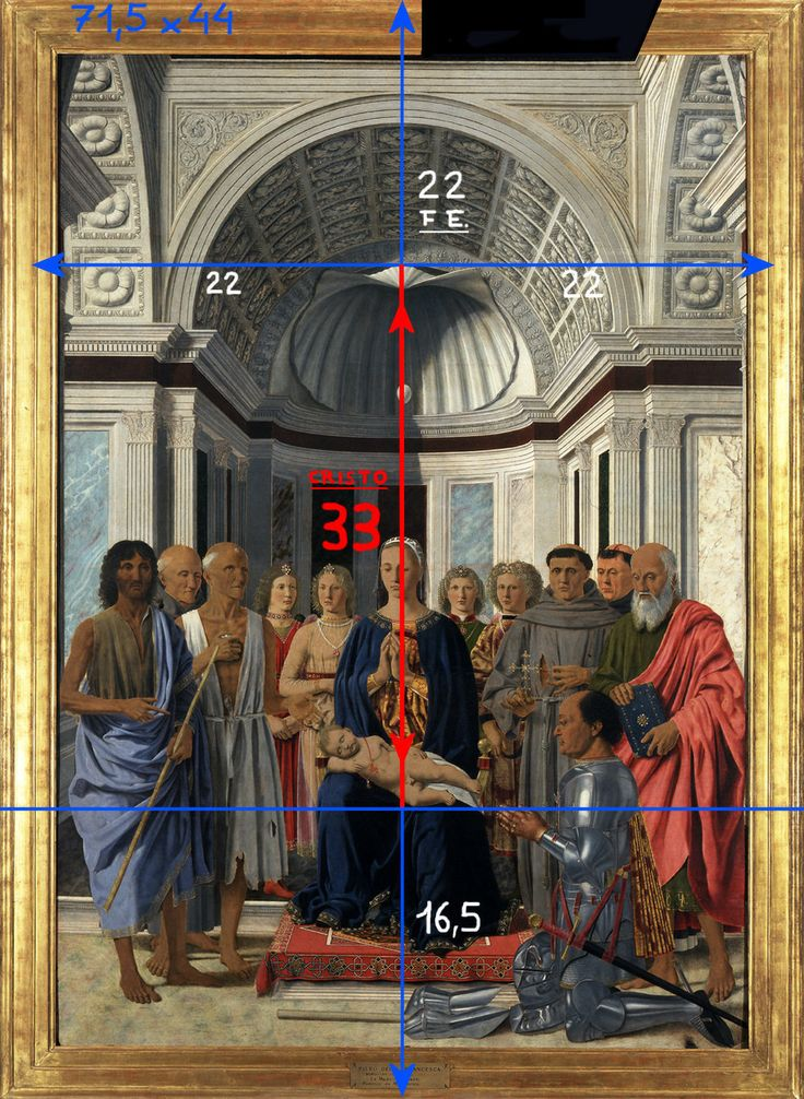 """INTUIZIONE DEL """"VALORE"""": 33. Federico da Montefeltro è nato nel 22 (1422) e Cristo è morto a 33 anni. 22+33+16,5=71,5 (data: 1471-1472)."""
