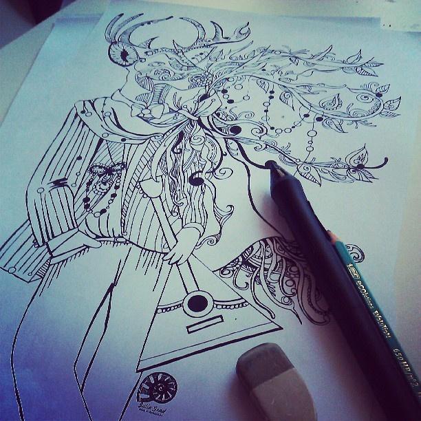 #олень #deer #folk #Russian #style #art #print #design for #professional #printing on #wear and #accessories #pen #ink #inkart #handmade #draw #русский #стиль для #новой #коллекции #принтов #рисунок #фольклор #россия #гелевая #ручка