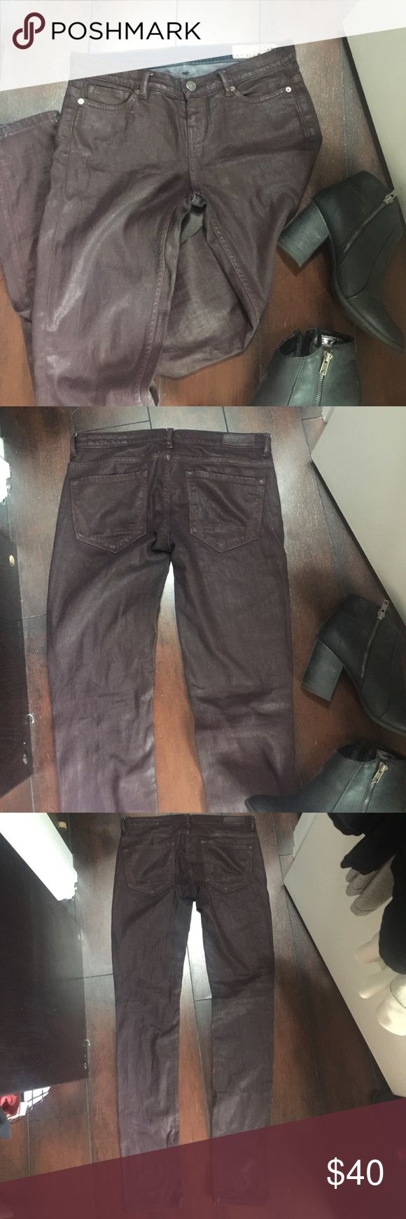 BADASS WAX OXBLOOD JEAN Reposhing these awesome jeans because they are a little too tight. All saints runs small. These don't have any stretch. Sad to let them go! Skinny and waxed. Tag says 28 but listing as 26 since they run small and fit more like a 26 All Saints Jeans Skinny
