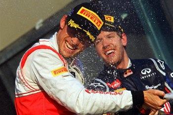 Jenson Button win's Australian GP 2012 and Sebastian Vettel helps him celebrate