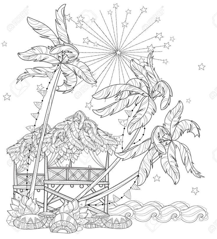 Mano Doodle Esquema En árbol De Palma, Ciudad De Dibujos Animados De Hadas…
