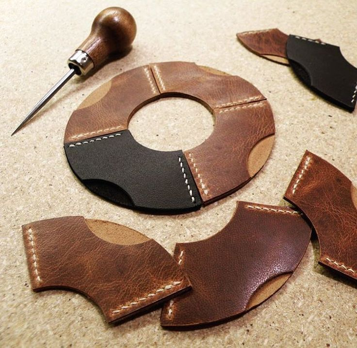 """""""Turning"""" out more handstitched, camel leather bookmark corners. Do you remember back in the day during your first library class? """"Now don't bend over the corner of the pages!"""" Now you don't have to."""
