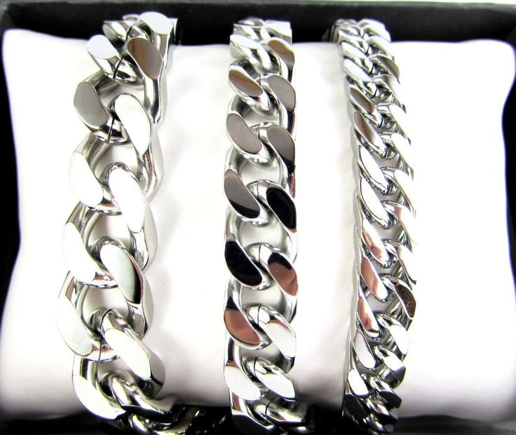 4 Faceted Curb Cuban Stainless Steel Bracelet Silver Men Chain
