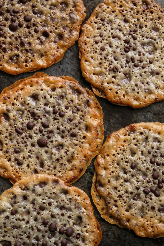 Almond Lace (Florentine) Cookies, sandwiched with bittersweet chocolate.