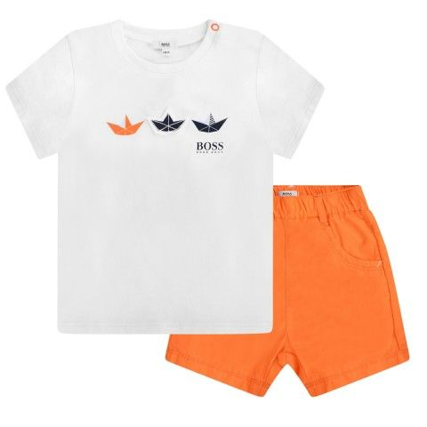 BOSS Baby Boys White Top & Orange Shorts Gift Set (2 Piece)