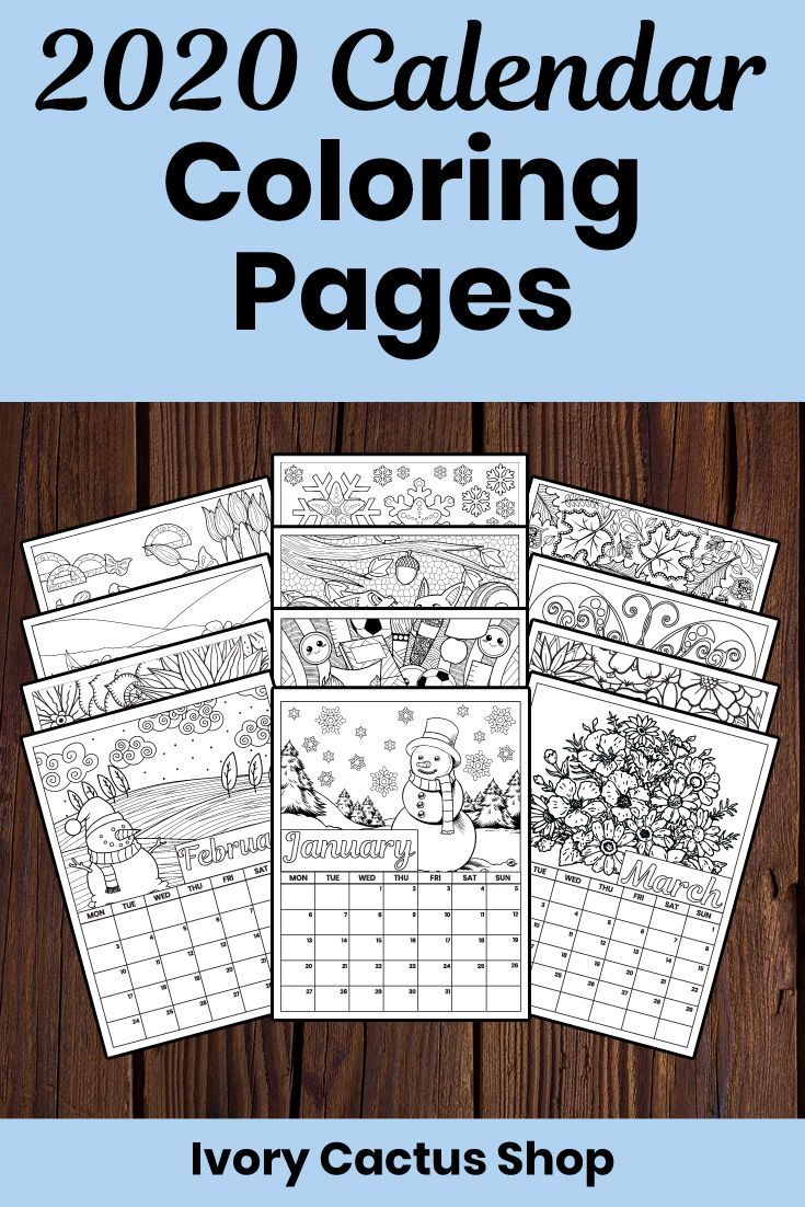 2020 Printable Calendar Pages With A Different Picture To Color Each Month 2020 Printablecalendar Printable Calendar Pages Coloring Calendar Calendar Pages [ 1102 x 735 Pixel ]
