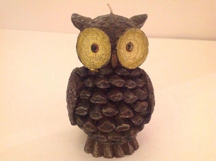 Owl Candle Carved Textured Horned Large Eyes Dark Gray Grey Vintage Bird Figure