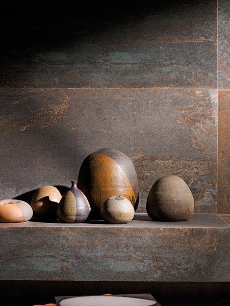 Porcelanato que imita aço corten chao parede tudo maravilhoso!