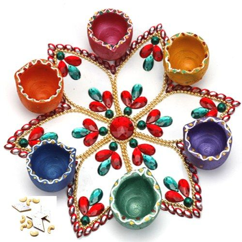 Floating Star Rangoli with Kaju Katli - Online Shopping for Diyas and Lights by Ghasitaram Gifts