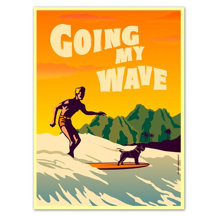 Going My Wave | A2 Art Print by Surf's Up! on POP.COM.AU $24.50