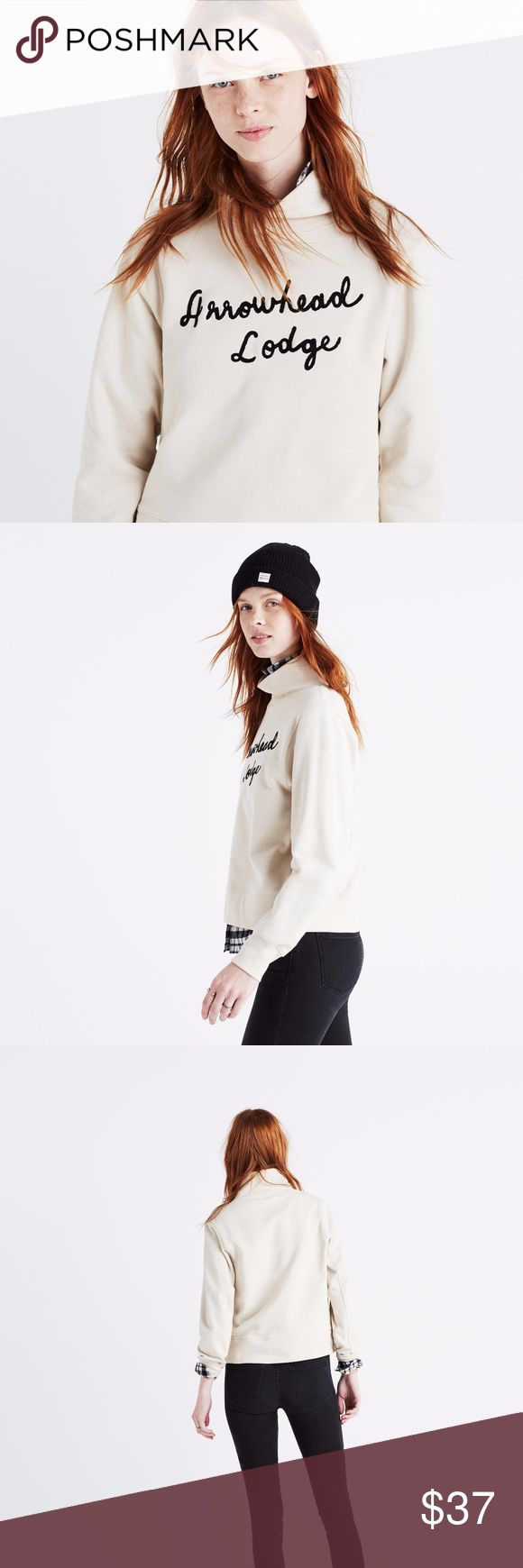 MADEWELL Arrowhead Cream Lodge Sweatshirt Sz S Slouchy and slightly cropped, this cozy funnelneck sweatshirt has fuzzy chain stitch embroidery inspired by a road trip our design team took to upstate New York.  - Boxy fit - Cotton - Style f9723  There's a reason everyone is obsessed with this sweatshirt. It's fantastic and so chic, while also being super cozy. Because it's a neutral cream/black, it will coordinate with all your Madewell flannel shirts.   Your new sweatshirt will ship to you…