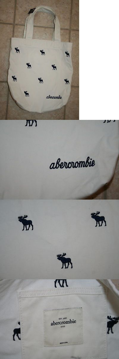 Purses and Wallets 15629: Nwt Abercrombie Girls White Navy Moose Tote Book Bag - Last One! -> BUY IT NOW ONLY: $32.5 on eBay!