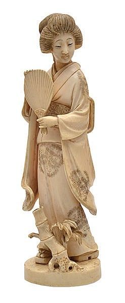 A JAPANESE OKIMONO OF A GEISHA MEIJI PERIOD, 19TH CENTURY  signed red plaque inset to base, 20cm high