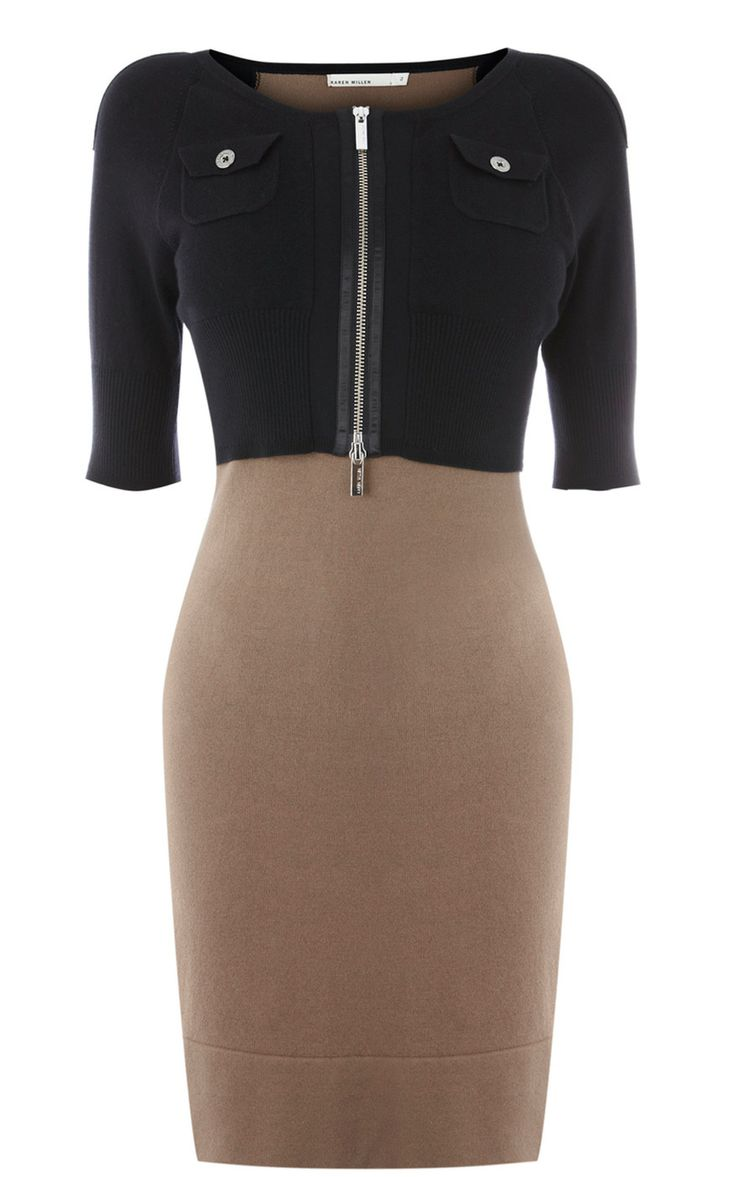 Karen Millen Colourblock Knit Dress Black & Red [#KMM155] - $87.00 :