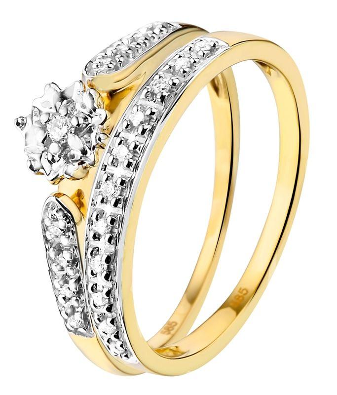 Geelgouden dubbele ring met 20 diamanten - Lucardi.nl