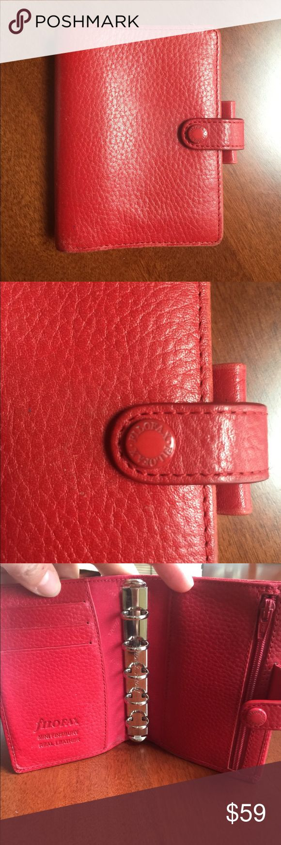 Filofax mini leather planner Beautiful red leather planner that could double for a wallet FILOFAX Bags Wallets