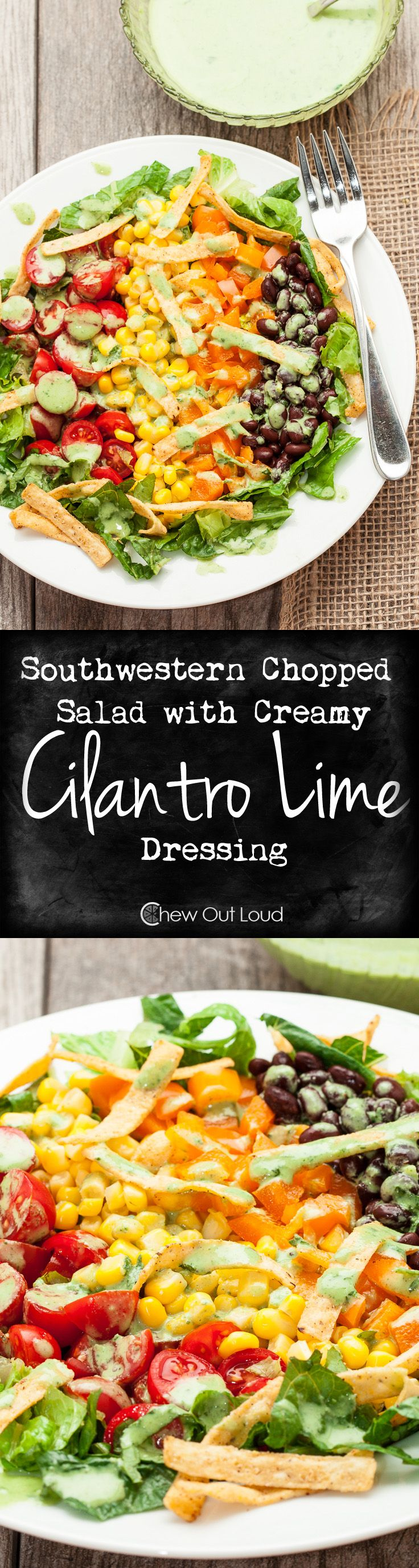 Southwestern Chopped Salad with Creamy Cilantro Lime Dressing.  Light, Refreshing, Zesty, Tangy, YUM!  Get your greens + oranges + yellows + reds + protein all at once!