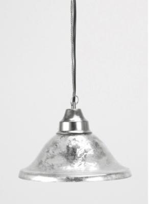 Vacker taklampa i fattigmanssilver med svart sladd.