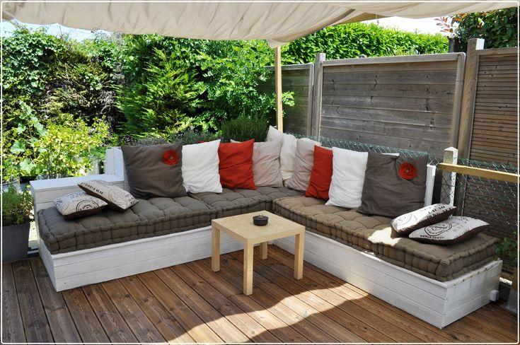 Salon de jardin, canapé d'angle extérieur en bois