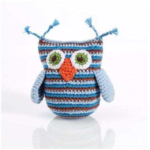 Pebble Hathay Bunano - Owl Rattle. Handmade in Bangladesh from natural materials.