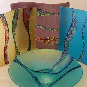 4 pieces of Jenefer Ham's kiln formed glass