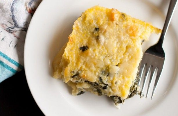 Polenta Al Forno with Collard Greens, Cheddar & Ricotta - Blogging Over Thyme