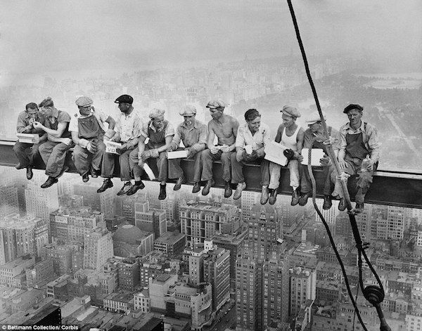 """Lunch atop a skyscraper (1932). Today on the 80th anniversary of the shot called """"Lunch atop a skyscraper,""""where 11 steel workers are sitting fearlessly having lunch on an 8 inch girder 850 feet above the city, it is being reported that the shot was a publicity stunt."""