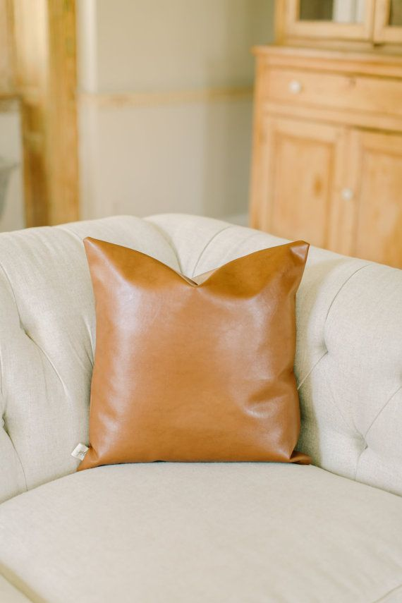 Accent Throw Pillow  18x18 Faux Leather tan leather by PCBHome