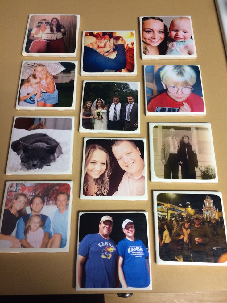 DIY coasters.   You'll need 4x4 pictures (printed on regular printer paper), Mod Podge, 4x4 ceramic tiles (Home Depot or Lowes), clear coat spray paint and felt or cork for the bottom of each coaster.