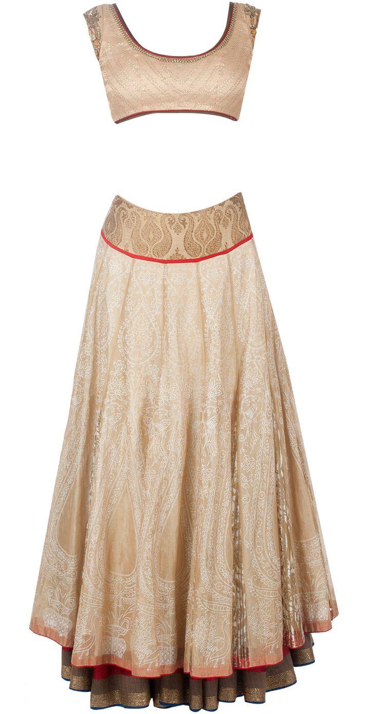 Gold tissue overlay lehenga sari by ANJU MODI. Shop at http://www.perniaspopupshop.com/designers-1/anju-modi/anju-modi-7637