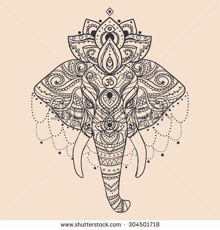 Lace Elephant Tattoo