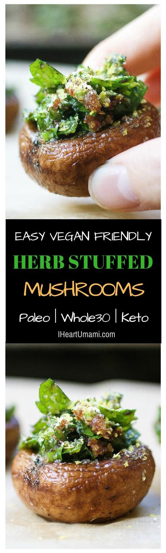 """Easy and """"cheesy"""" Herb Stuffed Mushrooms that are gluten dairy free and vegan friendly, packed with fresh parsley, mint, and sun dried tomatoes. Perfect finger party food. Follow the link to make this simple and super delicious recipe + ton more easy make"""