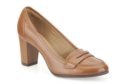 Clarks Basil Crimson, Brown Leather, Womens Smart Shoes