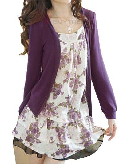 Allegra K Lady Flower Print Front Long Sleeve Fake Two Piece Shirt Purple S  (bestseller)