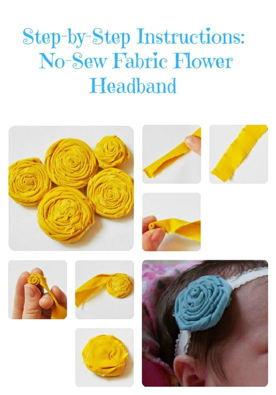 These step-by-step instructions will show you how to make a beautiful no-sew fabric flower headband. Great craft for little girls!